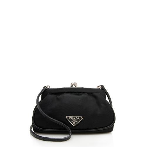 Prada Tessuto Mini Kiss Lock Crossbody Bag