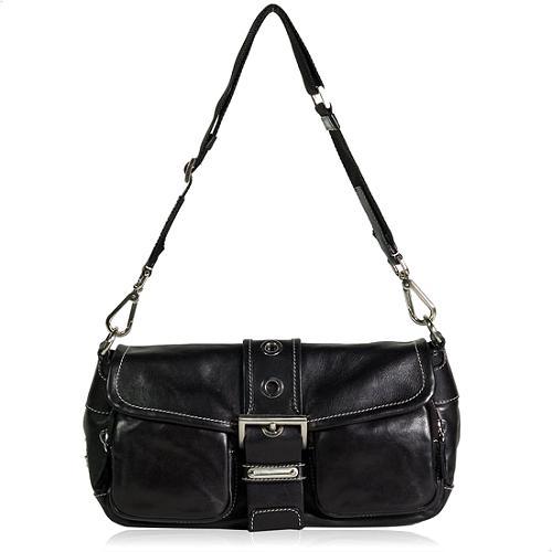 Prada Tessuto Nappa P Nero Pattina Shoulder Handbag