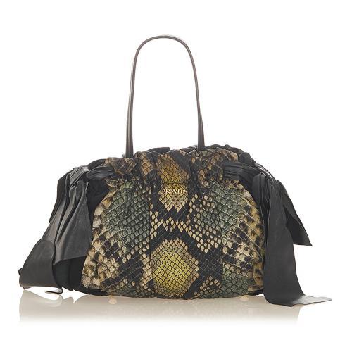 Prada Tessuto Python Print Shoulder Bag