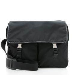 Prada Tessuto Saffiano Leather Double Buckle Messenger Bag