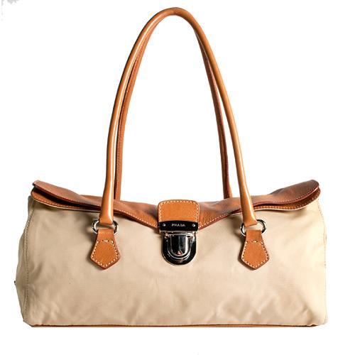 Prada Tessuto Vitello Easy Satchel Handbag