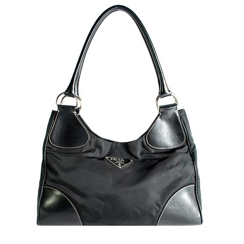 Prada Tessuto Vitello Small Hobo Handbag