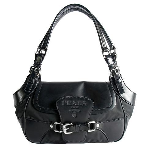 Prada Tessuto Vitello Small Shoulder Handbag