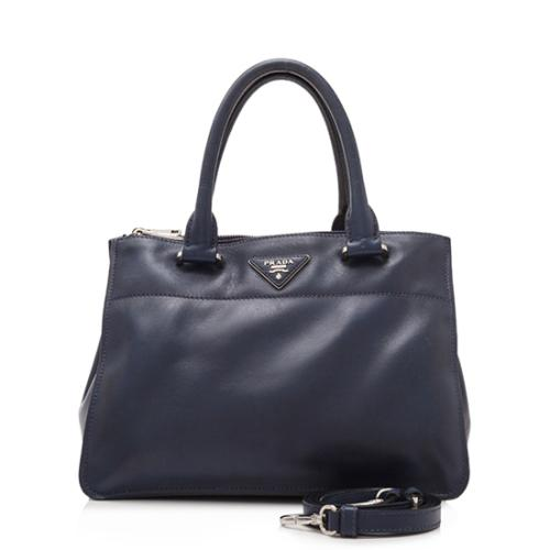 Prada Calfskin City Double-Zip Small Tote