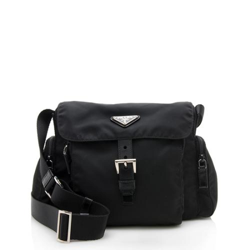 Prada Tessuto Buckle Pocket Messenger Bag