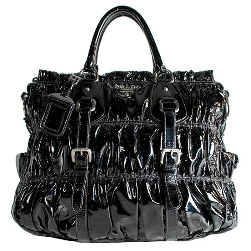 Prada Vernice Gaufre Convertible Satchel Handbag