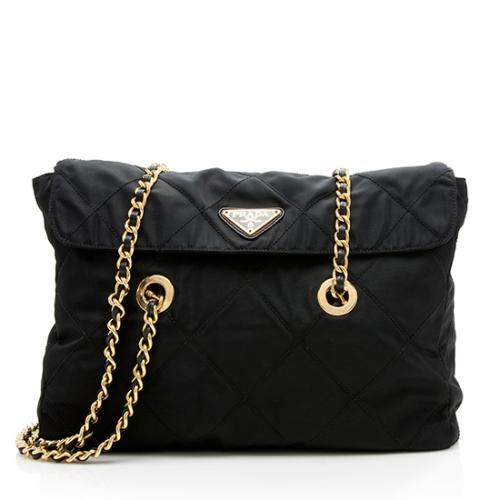 Prada Vintage Quilted Tessuto Chain Tote