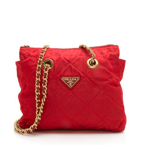 Prada Vintage Quilted Tessuto Small Chain Tote