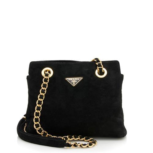 Prada Vintage Suede Chain Shoulder Bag