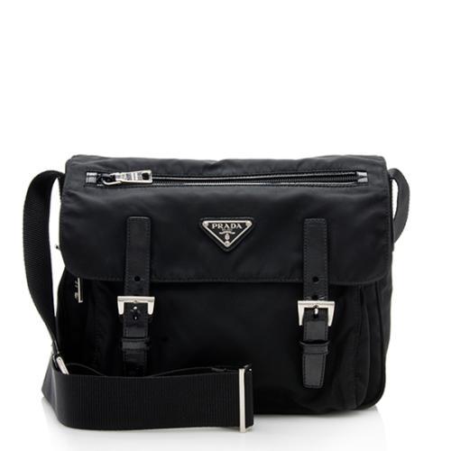 Prada Vintage Tessuto Double Buckle Messenger Bag