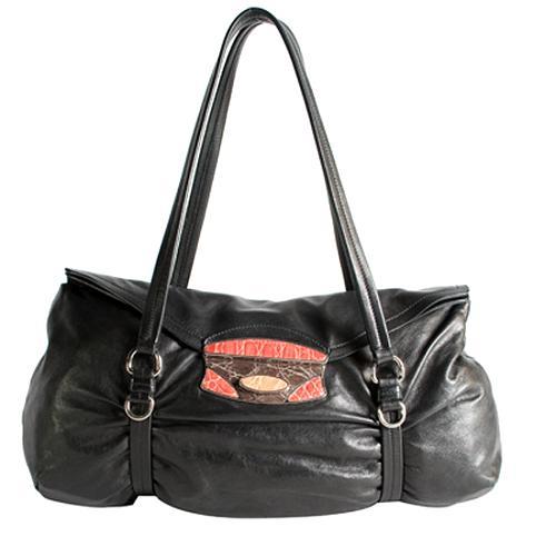 Prada Vitello Crocodile Push Lock Satchel Handbag