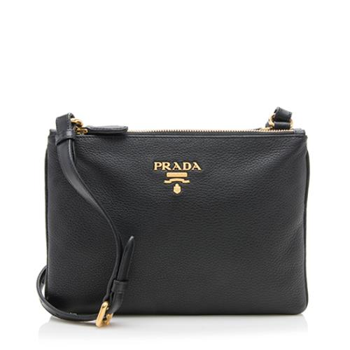 Prada Vitello Daino Leather Double Zip Crossbody Bag