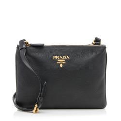 Prada Vitello Daino Leather Double Zip Crossbody Bag