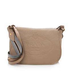 Prada Vitello Daino Logo Messenger Bag