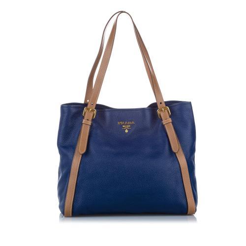 Prada Vitello Phenix Sesamo Tote Bag