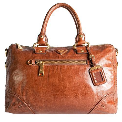 Prada Vitello Shine Bauletto Satchel Handbag