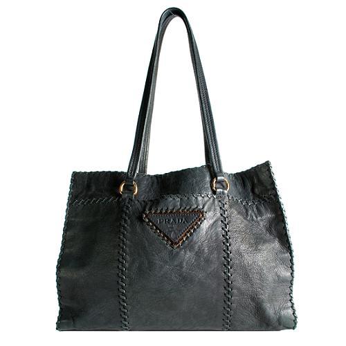 Prada Whipstitch Deerskin Shopper Handbag