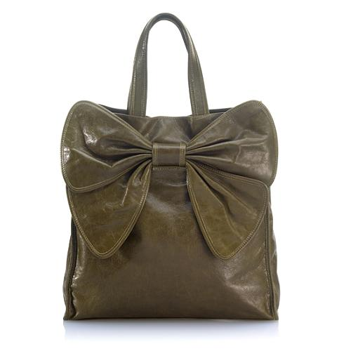 RED Valentino Leather Bow Convertible Tote