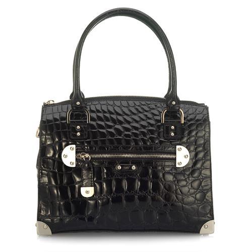 Rafe New York Shiny Croc Amy Medium Shoulder Handbag