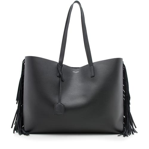 Saint Laurent Calfskin Fringe Large Shopping Tote