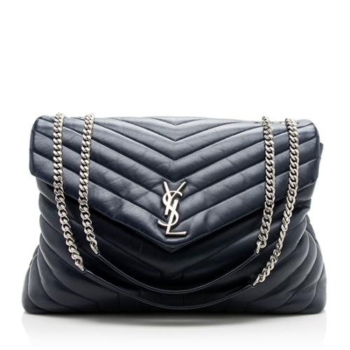 Saint Laurent Calfskin Matelasse Monogram LouLou Chain Large Shoulder Bag