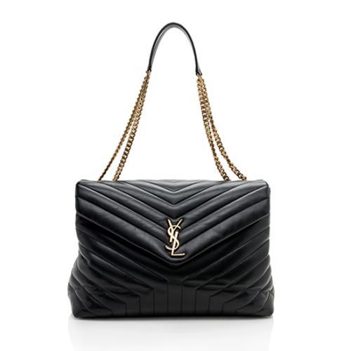 Saint Laurent Calfskin Matelasse Monogram LouLou Chain Large Shoulder Bag