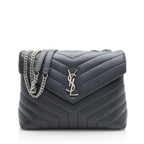 Saint Laurent Calfskin Matelasse Monogram LouLou Chain Medium Shoulder Bag