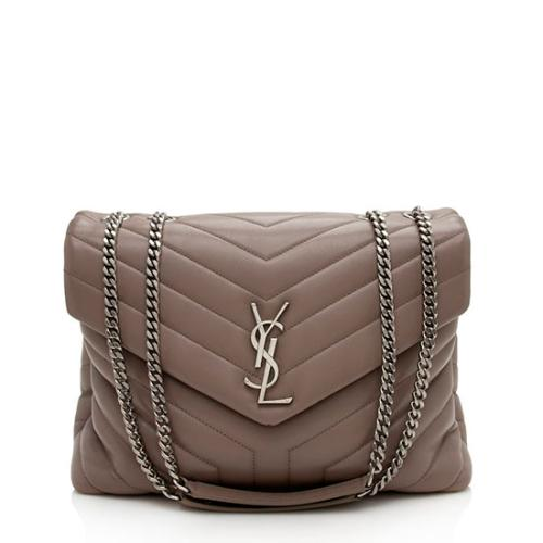 Saint Laurent Calfskin Matelasse Monogram LouLou Chain Medium Shoulder Bag