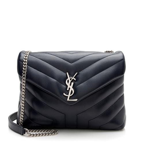 Saint Laurent Calfskin Matelasse Monogram LouLou Chain Small Shoulder Bag
