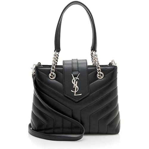 Saint Laurent Matelasse Calfskin Monogram LouLou Chain Small Tote