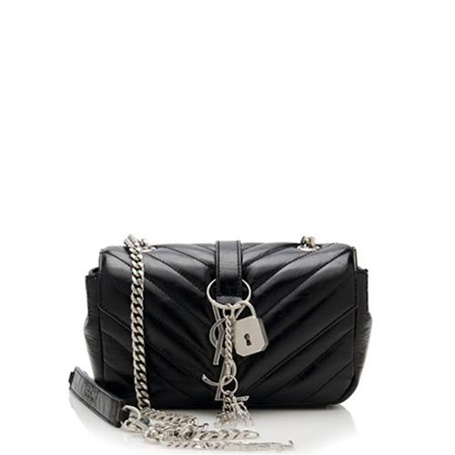 Saint Laurent Calfskin Matelasse Monogram Punk Chain Baby Crossbody Bag