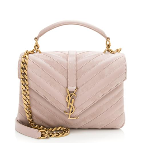 Saint Laurent Calfskin Suede Matelasse College Medium Shoulder Bag