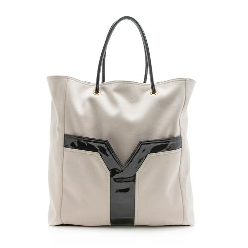 Saint Laurent Canvas Patent Leather Lucky Chyc Tote
