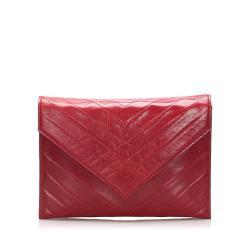 Saint Laurent Chevron Leather Clutch Bag