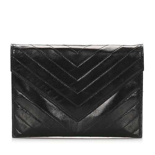 Saint Laurent Chevron Leather Clutch Bag