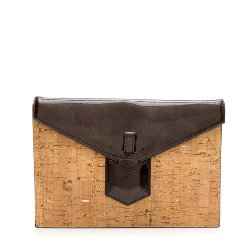 Saint Laurent Cork Patent Leather Y Clutch