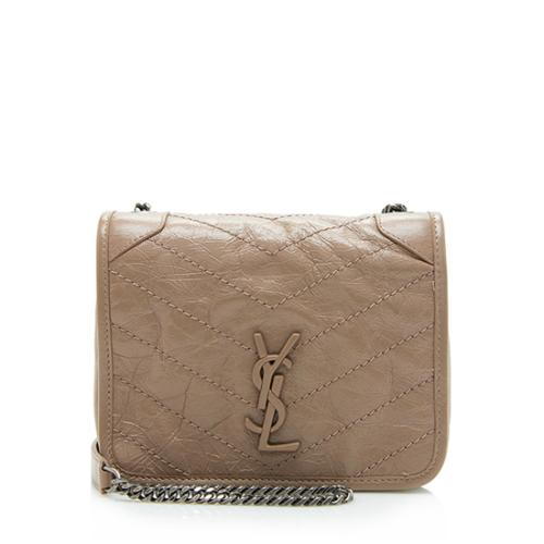 Saint Laurent Crinkled Calfskin Mini Niki Crossbody Bag