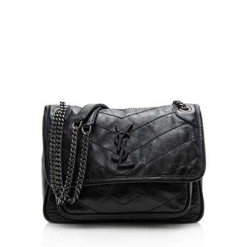 Saint Laurent Crinkled Calfskin Niki Baby Shoulder Bag