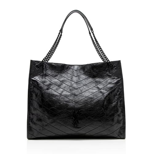 Saint Laurent Crinkled Calfskin Niki Large Shopping Tote