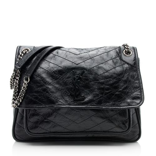 Saint Laurent Crinkled Calfskin Niki Large Shoulder Bag