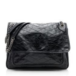 Saint Laurent Crinkled Calfskin Matte Black Niki Large Shoulder Bag