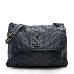 Saint Laurent Crinkled Calfskin Niki Large Shoulder Bag