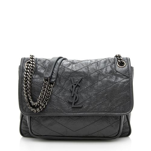 Saint Laurent Crinkled Calfskin Niki Medium Shoulder Bag