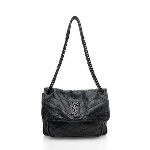 Saint Laurent Crinkled Calfskin Niki Medium Shoulder Bag