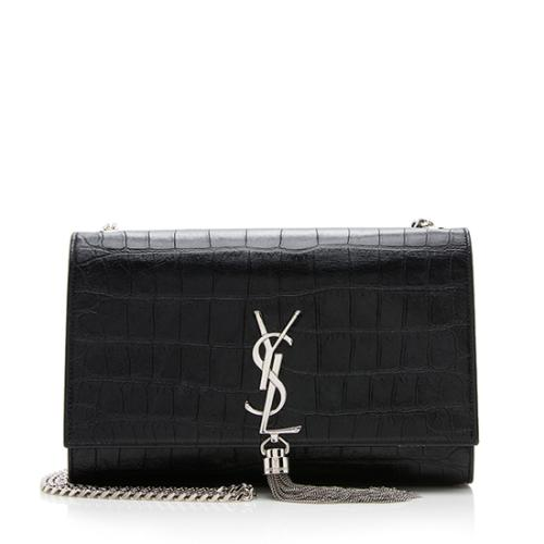 Saint Laurent Croc Embossed Classic Kate Tassel Medium Shoulder Bag
