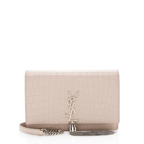 Saint Laurent Croc Embossed Classic Kate Tassel Small Shoulder Bag