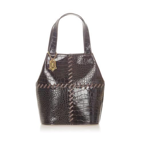 Saint Laurent Croc Embossed Leather Handbag