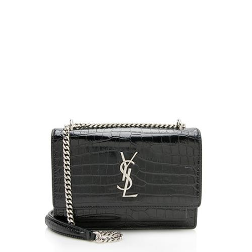 Saint Laurent Croc Embossed Leather Mini Sunset Wallet On Chain Bag