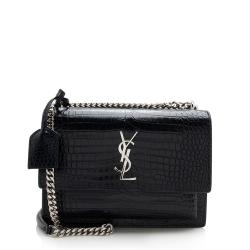 Saint Laurent Croc Embossed Leather Sunset Medium Shoulder Bag