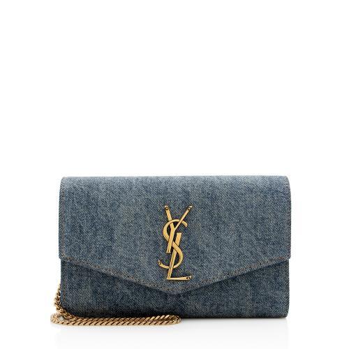 Saint Laurent Denim Uptown Wallet on Chain Bag